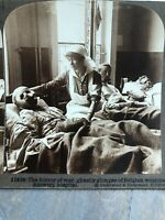 Antique Stereoview Card Photo HORROR OF WAR Belgium ANTWERP HOSPITAL WOUNDED WW1