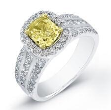 2.05Ct Canary Fancy Cushion Cut Diamond Engagement Ring