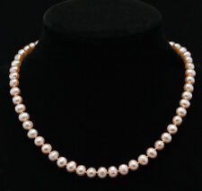"""Genuine pretty 7-8mm pink Freshwater cultured pearls Necklace 18"""""""