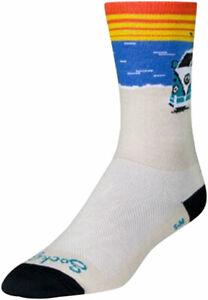 SockGuy Daze Crew Socks | 6 inch | White/Blue/Orange | S/M