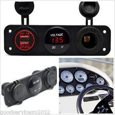 DC12V-24V Car Boat 3 Hole Panel Red LED Angel Eye Dual USB Charger Voltmeter Kit