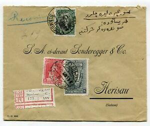 Turkey registered cover Stamboul to Herisau Switzerland 1928