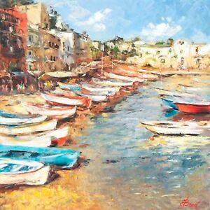 """Mediterranean Fishing Boats"" by Elena Bond (Fine Art on Canvas Seascape)"