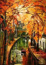 Utrecht Netherlands Canal Autumn Boat Ltd Edition ACEO Print Art Yary Dluhos .
