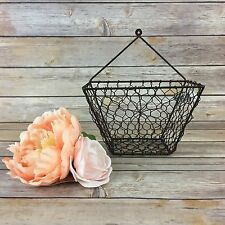 Vintage Style Wire Hanging Wall Basket Metal Farmhouse Decor Primitive Rustic