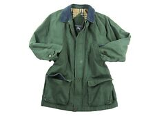 BURBERRY Mens Field Utility Jacket Coat Cotton Green Front Large Pockets Size L
