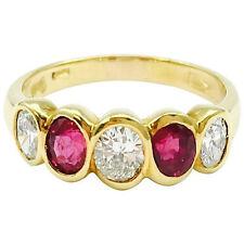 Damiani Ruby & Diamond Five Stone 18K Gold Band Ring