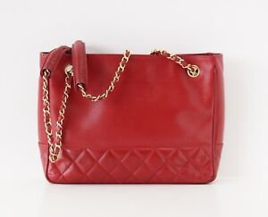 Chanel Bag Red Lambskin Tote Quilted Detail Gold Hardware