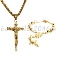 Mens Stainless Steel Christ Jesus Cross Pendant Necklace Beaded Bracelet Set