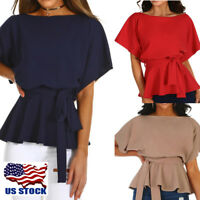 Womens Short Sleeve Lace Up Tops Ladies Fashion Summer Bodycon Blouse T-Shirt US