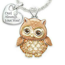 Animal Owl Pendant Jewelry 925 Silver Chain Necklace Choker Valentine's Gift