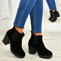 New Womens Ankle Chelsea Boots Chunky Block Heels Platform Shoes Size Uk 3-8 AA!