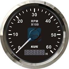 KUS Marine Boat Tachometer Gauge W/ LED Hourmeter Truck RPM Tacho Meter 6000RPM