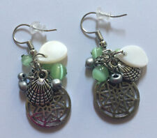 Silver Sea Shell Earrings Pierced Green Dangle Drop Summer Beach Jewelry Mermaid