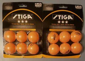 2 packs, Stiga Three-Star Orange Table Tennis Balls, 40mm, New, 12 balls total