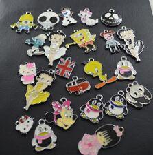 10 x émail Pendentifs et Charms-Mixed Pack, (panda pingouin Hello Kitty Bear)