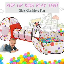 Pop Up 3 in 1 Play Tent Playhouse Toddlers Tunnel Baby Kids Play Teepee Toy HOT