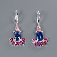 Blue Sapphire Earrings Silver 925 Sterling Special Sale Discount!  /E41711