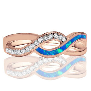 Rose Gold Plated Blue Fire Opal Infinity Celtic Micro Pave Silver Ring
