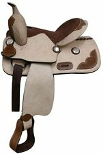 """13"""" Youth Rought Out Leather Saddle with Tooled leather accents. *Full QH Bars*"""