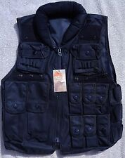 Heavy Duty Tactical Police Vest Black Many Pockets Padded Neck Collar Airsoft