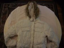Junior  hooded winter jacket - XL - white with fake fur trim, by Dollhouse