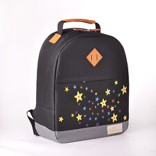 black backpack, school bag with star galaxy and leather trim (simeon can)