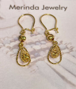 18k Solid Yellow Gold Ball Dangle Leverback Earrings, Diamond Cut 1.75 Grams