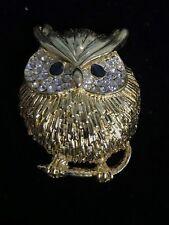 Stunning Gold Crystal Owl Brooch
