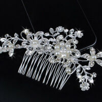 Crystal Rhinestone Flower Wedding Pearls Hair Clip Comb For Women New Bride M8C4