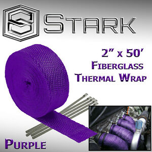 "2"" x 50FT Exhaust Header Fiberglass Heat Wrap Tape w/ 5 Steel Ties - Purple (B)"