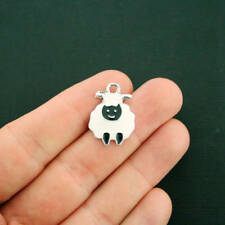 5 Sheep Charms Silver Plated Enamel Fun and Colorful E138