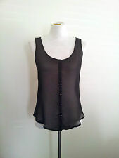 Elwood size S sheer black polyester top, sleeveless with scoop neck