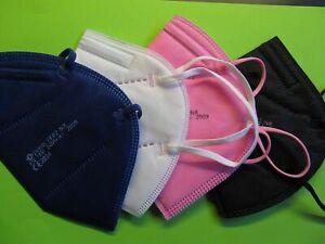 5 FFP2 Masken bunt weiß schwarz rosa blau Mund Atemschutz 5 Lagen CE geprüft Neu