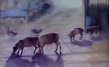 "ORIGINAL BRIDGET ASKEW ""Sunlight Shadows Piglets Ducks"" Landscape Oil PAINTING"