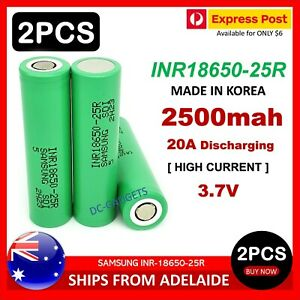 2X Samsung INR 18650-25R 2500mAh 20A HIGH CURRENT Flat Top with Carry Box