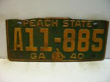 1940 Georgia License Plate   A11 - 885   PEACH STATE     Vintage  as5161