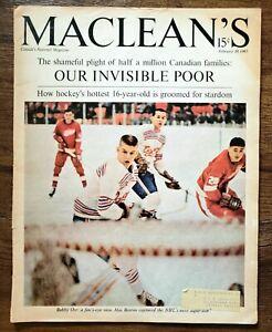 1965 MACLEAN'S MAGAZINE BOBBY ORR COVER - PRE 1966 ROOKIE SEASON EXCELLENT SHAPE