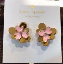 Kate Spade pansy blossom flower stud earrings pink gold 12K plated New+dust bag