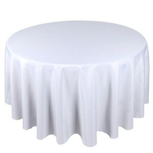 ROUND TABLECLOTH TABLE CLOTH - PARTIES WEDDING WHITE BLACK SILVER CHRISTMAS RED