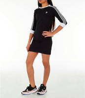 Women's Adidas Originals 3-Stripes 3/4 Sleeve Dress Black/White [z] DV2567