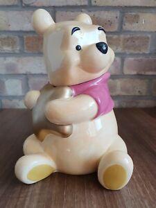 RARE Disney Store Authentic Ceramic Winnie the Pooh Gold Star Cookie Jar Storage
