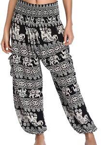 Thai Elephants Smock Pants/Thai Pants - Harem Pants - Comfy Pants - Yoga Harem