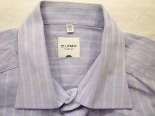 E7867 Olymp Tendenz Businesshemd Kombimanschette 42 lila, weiß gestreift Neuw.