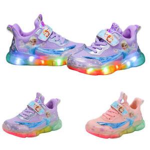 Kids Girls Children Disney LED Trainers Shoes Elsa Flashing Light Up Sneakers