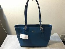 NWT Coach Sophia Small Tote in Polished Pebbled Leather Silver Peacock F36604