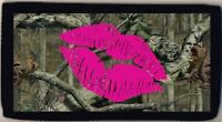 Lips Pink Camo Camouflage Woods Mossy Oak Checkbook Cover Credit Card ID Holder