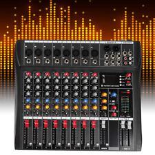 Pro 8 Channel Powered Audio Mixer Power Mixing Dj Amplifier Amp Usb Slot Us Ship