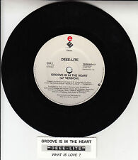 "DEEE-LITE Groove Is In The Heart 7"" 45 rpm vinyl record + juke box title strip"