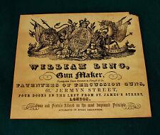 William LING PISTOLA Maker riproduzione carta Gun Case etichetta